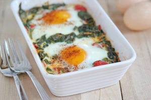 Baked egg and Spinach