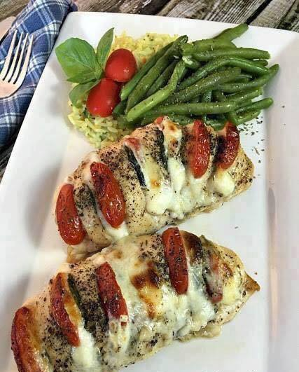 Chicken stuffed w mozzarella tomato